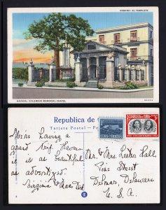 CUBA HAVANA LINEN POSTCARD COLUMBUS MEMORIAL CHAPEL TO DELAWARE USA 1952
