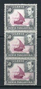 KUT 1938 KGVI 50c STRIP 3 perf 13x11¾ SG 144 mint. Kenya Uganda Tanganyika