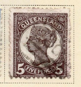Queensland 1895 Early Issue Fine Used 5d. 326843
