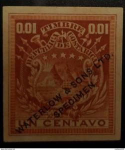 O) 1862 COSTA RICA, SPECIMEN IMPERFORATE-ESSAY PROOF, COAT 1 CENTAVO - 0.001 WAT