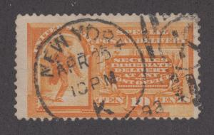 US Sc E3 used 1893 10c Special Delivery, SON NEW YORK STATION K duplex cancel