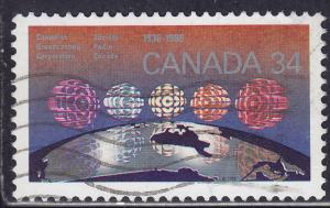 Canada 1103 USED 1986 CBC Logo over 5 Regions of Canada 34¢