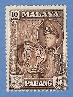 Malaya Pahang 77 Used Pencil Mark - Tiger, Abu Bakar