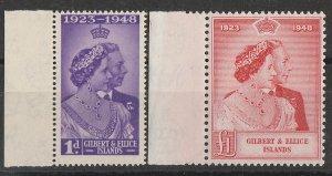 GILBERT & ELLICE ISLANDS : 1948 KGVI Silver Wedding set 1d & £1. MNH **.