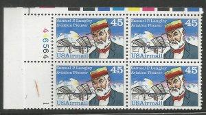 US  C118  MNH,  PLATE BLOCK,  SAMUEL P. LANGLEY,  AVIATION PIONEER,  AIRMAIL