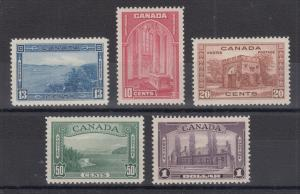 Canada Sc 241-245 MLH. 1938 Pictorials, cplt set, very lightly hinged, VF
