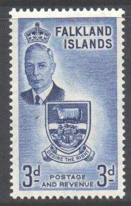 Falkland Is Scott 111 - SG176, 1952 George VI 3d MH*