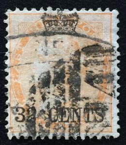 Malaya Straits Settlements 1867 opt India QV 32 cents on 2 anna Used SG#9 CV£110