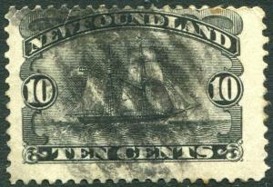 NEWFOUNDLAND-1887 10c Black Sg 54 AVERAGE USED V30308