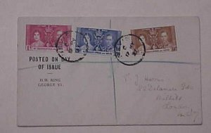 ST. CHRISTOPHER & NEVIS  FDC  KING GEORGE VI   CORONATION  1937 MAY12