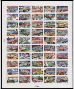 SC#3696-3745 37¢ Greetings From America Sheet of Fifty *