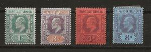 Straits Settlements 93-95, 97 MH F/VF 1902 SCV $16.50 (jr)
