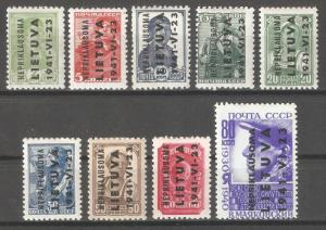 Lithuania Nepriklausoma 1941 WW-2 German Occupation,Mi 1-9,VF MLH OG (W-5)