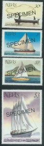 78437 - NEVIS - STAMPS -  BOATS Ships  4 values MNH - Overprinted SPECIMEN