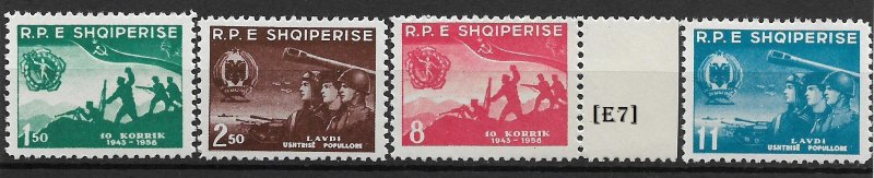 [E7] Albania 1958, 15-th anniversary of army.Mi 568-71, MNH