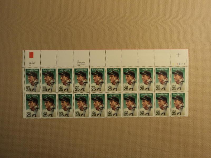 USPS Scott 2417 25c 1989 Lou Gehrig Mint NH Plate Block 2...