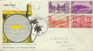801 3c PUERTO RICO - Linprint combo FDC