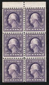 US Sc 501b Violet 3¢ Booklet Pane TyI p.11 MNH Original Gum *TL lot