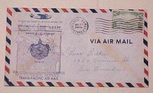 HAWAII  FLIGHT 1940 JULY 23 HONOLULU B/S LOS ANGELES