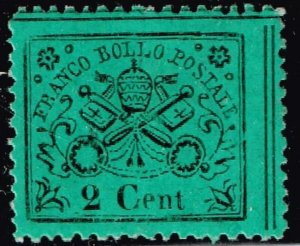 ITALY STAMP PAPAL STATE 1868 Coat of Arms - Black Print on Colored Glazed  MH $7