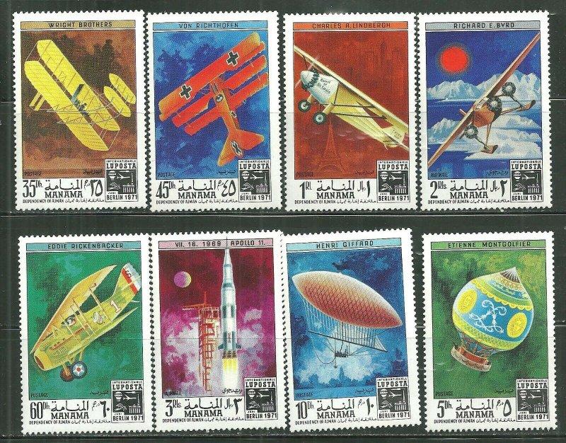 Manama MNH Set Of 8 History Of Manned Flight