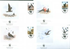 Ascension Island. 1990 WWF. 4 FDC Complete Set. Frigatebirds. Sc# 483-84-85-86.
