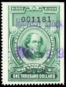 RD361, Superb Gem $1000 Stock Transfer Revenue Stamp Cat $140.00 - Stuart Katz
