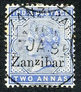 Zanzibar SG7 2a Blue Small second Z and inverted Q for B (tone spots)
