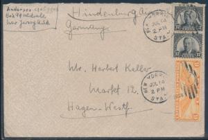 SIEGER #424 HINDENBURG 5TH NORTH AMERICA FLT COVER USA TO GERMANY BU6102