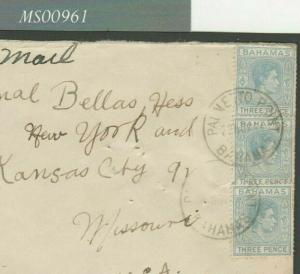 MS961 BAHAMAS WW2 Cover *Palmetto Point* CDS 9d Rate 1944 Air Mail Kansas USA
