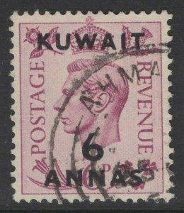 KUWAIT SG70 1948 6a on 6d PURPLE USED