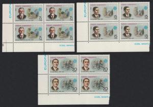 Turkey Europa CEPT Artists Doctor 3v SW Corner Blocks of 4 1980 MNH