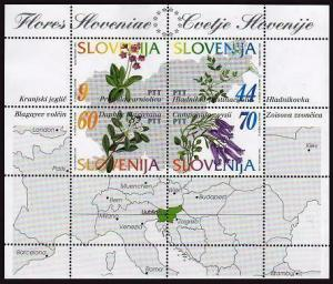 HERRICKSTAMP SLOVENIA Sc.# 196 Flowers S/S w/ Map