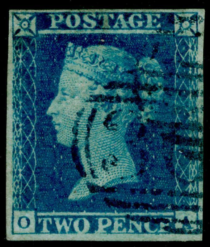 SG15, 2d deep FULL blue, FINE USED. Cat £1000. 4 MARGINS. BLUE POSTMARK. OA