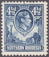 Northern Rhodesia # 37 hinged ~ 4½p George VI ~ Giraffe, Elephants