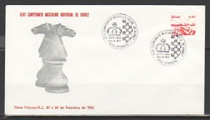 Brazil, 25/SEP/80 issue. Chess cancel on a Cachet cover. ^