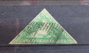 COGH QV Triangle imperf 1s bright emerald green SG21 CV £500