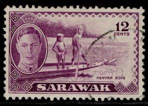 SARAWAK GVI SG178, 12c violet, FINE USED.