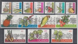 UGANDA 1975 Sc#133/146  Fruits & Vegetables Set (14) MNH