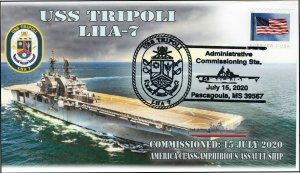 20-305, 2020,USS Tripoli, Event Cover, Pictorial Postmark, LHA-7, Commissioning