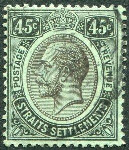STRAITS SETTLEMENTS-1914 45c Black/Green white back Sg 208 FINE USED V50199