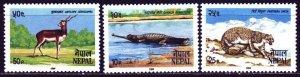 Nepal. 1984. 444-46. Nepal fauna, crocodile, leopard, antelope. MVLH.