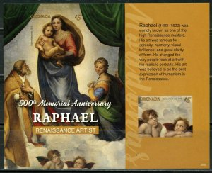 GRENADA 2020  500th MEMORIAL ANNIVERSARY OF RAPHAEL IMPF SOUVENIR SHEET MINT NH