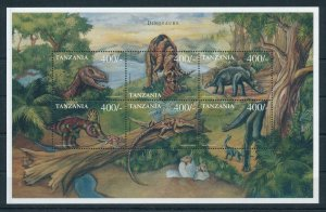 [106354] Tanzania 1999 Prehistoric animals dinosaurs Stegosaurus Sheet MNH