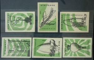Match Box Labels ! industry machines science airplane plane prague GN10