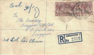 Singapore 10c KGVI (3) 1955 Geylang, Singapore Registered to Singapore Turf C...