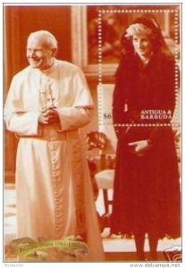 Antigua & Barbuda 1998 Pope Religions Dealth Princesse Lady Diana Royals Stamp