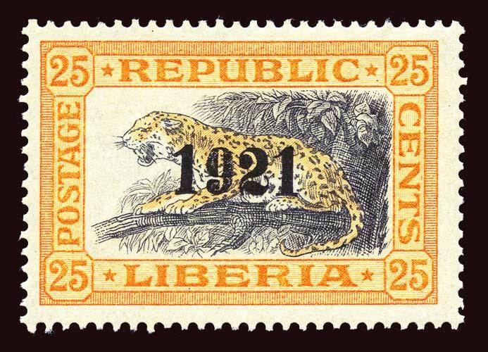 LIBERIA Scott #202 1921 ovpt. Leopard, unused OG LH