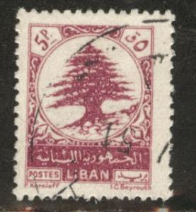 LEBANON Scott 237 used  stamp 1950