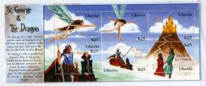 LIBERIA 25900 MNH S/S BIN $4.75 ST GEORGE AND THE DRAGON